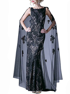 cheap Evening Dresses-Mermaid / Trumpet Luxurious Black Engagement Formal Evening Dress Boat Neck Sleeveless Sweep / Brush Train Lace Tulle with Lace Insert Appliques 2020