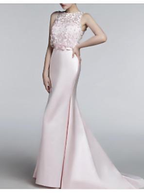 cheap Prom Dresses-Mermaid / Trumpet Elegant Formal Evening Dress Jewel Neck Sleeveless Sweep / Brush Train Tulle Charmeuse with Pleats Appliques 2020