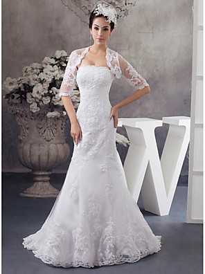 cheap Wedding Dresses-Mermaid / Trumpet Wedding Dresses Strapless Court Train Lace Satin Half Sleeve with Beading Appliques 2020 / Bell Sleeve