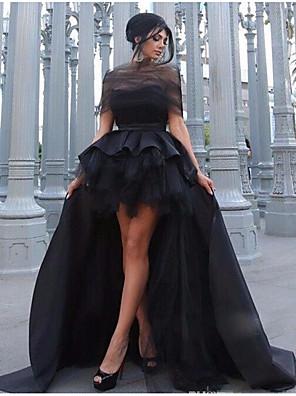 cheap Evening Dresses-A-Line Elegant Prom Formal Evening Dress Jewel Neck Sleeveless Asymmetrical Satin Tulle with Sash / Ribbon Cascading Ruffles 2020