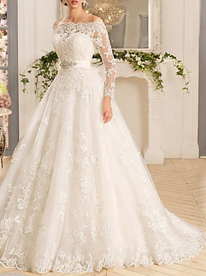 cheap Wedding Dresses-A-Line Wedding Dresses Off Shoulder Sweep / Brush Train Tulle Regular Straps Illusion Sleeve with Appliques 2020