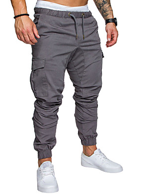 cheap Men's Pants & Shorts-Men's Sporty Street chic Loose Jogger Tactical Cargo Pants - Striped Solid Colored Drawstring Wine White Black US34 / UK34 / EU42 / US36 / UK36 / EU44 / US38 / UK38 / EU46