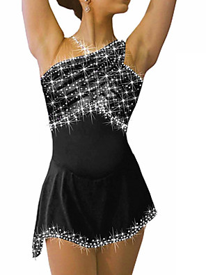 cheap Ice Skating Dresses , Pants & Jackets-Figure Skating Dress Women's Girls' Ice Skating Dress Black White Sky Blue Spandex High Elasticity Competition Skating Wear Crystal / Rhinestone Sleeveless Ice Skating Figure Skating