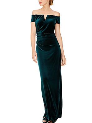 cheap Evening Dresses-Sheath / Column Elegant Engagement Formal Evening Dress Off Shoulder Short Sleeve Floor Length Velvet with Ruched Split Front 2020