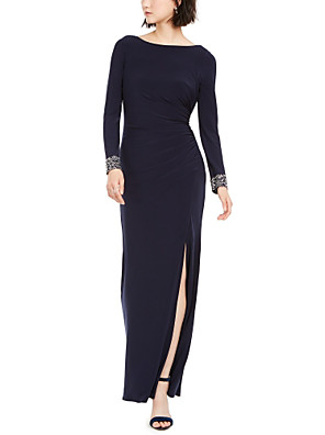 cheap Wedding Wraps-Sheath / Column Elegant Formal Evening Dress Boat Neck Long Sleeve Ankle Length Spandex with Ruched Crystals Split Front 2020