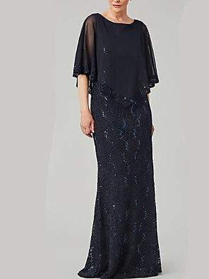 cheap Mother of the Bride Dresses-Sheath / Column Mother of the Bride Dress Elegant & Luxurious Jewel Neck Floor Length Chiffon Half Sleeve with Lace Beading Embroidery 2020