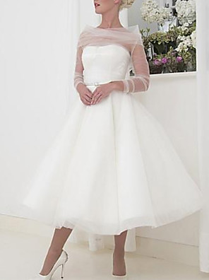 cheap Prom Dresses-A-Line Wedding Dresses Bateau Neck Tea Length Tulle Long Sleeve Vintage Little White Dress 1950s with 2020