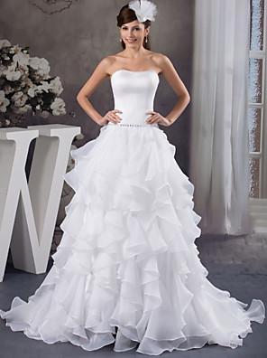 cheap Wedding Dresses-A-Line Wedding Dresses Strapless Court Train Organza Satin Strapless with Beading Cascading Ruffles 2020