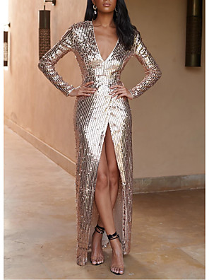cheap Prom Dresses-Sheath / Column Elegant Formal Evening Dress Plunging Neck Long Sleeve Floor Length Sequined with Sequin Split Front 2020