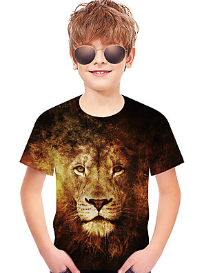 cheap Boys' Tops-Kids Toddler Boys' Active Basic Lion Geometric Print 3D Print Short Sleeve Tee Brown