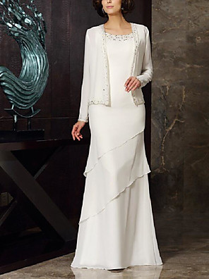 cheap Mother of the Bride Dresses-Two Piece A-Line Mother of the Bride Dress Elegant Jewel Neck Floor Length Chiffon Long Sleeve with Tier 2020