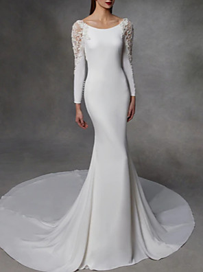 cheap Wedding Dresses-Mermaid / Trumpet Wedding Dresses Jewel Neck Court Train Stretch Satin Lace Over Satin Long Sleeve Simple Sexy Illusion Detail Backless with Lace Insert 2020