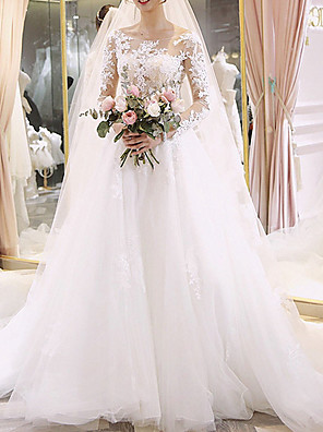cheap Wedding Dresses-A-Line Wedding Dresses Jewel Neck Floor Length Lace Long Sleeve Illusion Sleeve with Lace Insert Appliques 2020