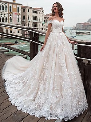 cheap Wedding Dresses-Ball Gown A-Line Wedding Dresses Off Shoulder Chapel Train Lace Tulle Short Sleeve with Appliques 2020