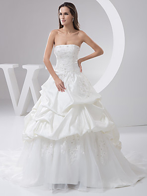 cheap Wedding Dresses-A-Line Wedding Dresses Strapless Court Train Lace Organza Satin Strapless with Pick Up Skirt Beading Appliques 2020