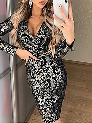 cheap Party Dresses-Women's Sheath Dress - Long Sleeve Solid Colored Deep V Elegant Slim Black S M L XL