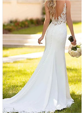 cheap Wedding Dresses-Mermaid / Trumpet Wedding Dresses V Neck Sweep / Brush Train Lace Charmeuse Regular Straps Sexy Backless with Draping Appliques 2020