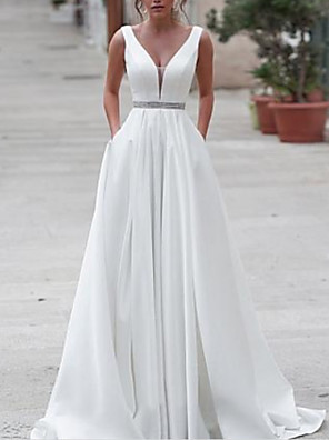 cheap Wedding Dresses-A-Line Wedding Dresses V Neck Sweep / Brush Train Satin Regular Straps with Sashes / Ribbons Buttons 2020