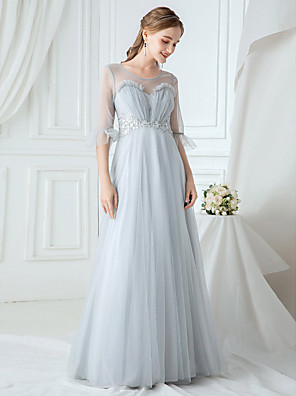 cheap Wedding Dresses-A-Line Elegant & Luxurious Prom Dress Jewel Neck Half Sleeve Floor Length Lace Tulle with Lace Insert 2020