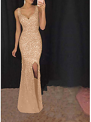 cheap Evening Dresses-Women's Maxi Swing Dress - Sleeveless Solid Colored Split Glitter Strap Elegant Sexy Cocktail Party Prom Birthday Blushing Pink Gold S M L XL