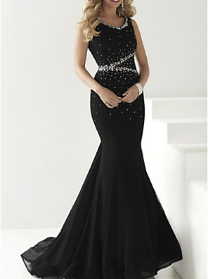 cheap Evening Dresses-Mermaid / Trumpet Sparkle Black Engagement Formal Evening Dress Jewel Neck Sleeveless Court Train Organza with Crystals Beading 2020