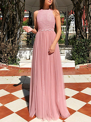 cheap Party Dresses-A-Line Elegant Prom Dress Jewel Neck Sleeveless Floor Length Tulle with Sash / Ribbon 2020