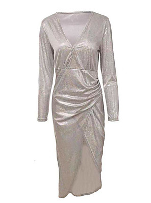 cheap Women's Dresses-Women's The Great Gatsby Flapper Dress - Long Sleeve Solid Colored Deep V Basic 1920s Daily Wear Slim Gold Silver S M L XL