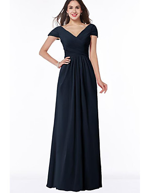 cheap Bridesmaid Dresses-A-Line V Neck Floor Length Chiffon Bridesmaid Dress with Ruching