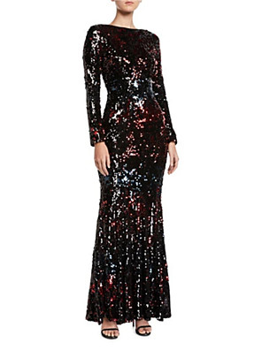 cheap Evening Dresses-Sheath / Column Elegant Formal Evening Dress Jewel Neck Long Sleeve Floor Length Sequined with Pleats Sequin 2020