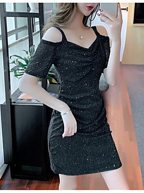 tanie Sukienki-Damskie Sukienka na ramiączkach Mini sukienka - Krótki rękaw Solidne kolory Elegancja Szczupła Czarny Czerwony S M L XL