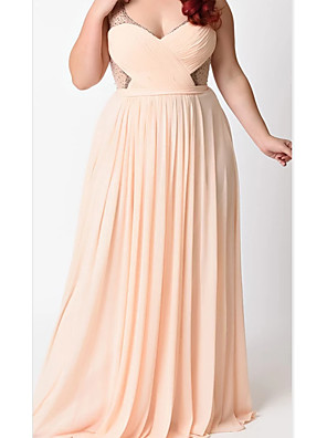 cheap Prom Dresses-A-Line Plunging Neck Floor Length Chiffon / Tulle Bridesmaid Dress with Sash / Ribbon / Pleats / Beading