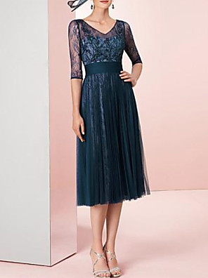 cheap Special Occasion Dresses-A-Line Elegant Holiday Cocktail Party Dress V Neck Half Sleeve Tea Length Lace Tulle with Pleats Lace Insert 2020