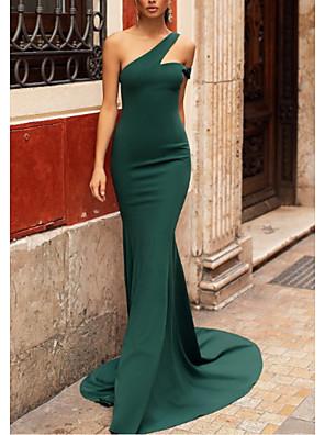cheap Evening Dresses-Mermaid / Trumpet Elegant Formal Evening Dress One Shoulder Sleeveless Sweep / Brush Train Stretch Satin with Pleats 2020
