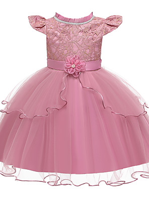 cheap Girls' Dresses-Kids Girls' Active Cute Solid Colored Lace Bow Layered Short Sleeve Knee-length Dress Blushing Pink