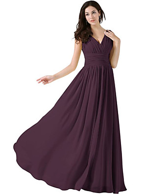 cheap Bridesmaid Dresses-A-Line Plunging Neck Floor Length Chiffon Bridesmaid Dress with Ruching