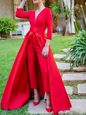 cheap Evening Dresses-Jumpsuits Elegant Red Prom Formal Evening Dress V Neck 3/4 Length Sleeve Floor Length Satin with Overskirt Split Front 2020
