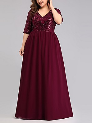 cheap Bridesmaid Dresses-A-Line V Neck Floor Length Polyester Bridesmaid Dress with Sequin