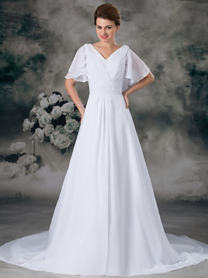 cheap Wedding Dresses-A-Line Wedding Dresses V Neck Chapel Train Chiffon Satin Short Sleeve with Ruched Beading 2020 / Butterfly Sleeve