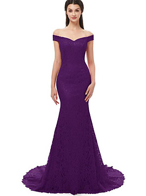 cheap Evening Dresses-Mermaid / Trumpet Elegant Prom Formal Evening Dress Off Shoulder Short Sleeve Sweep / Brush Train Lace with Lace Insert 2020