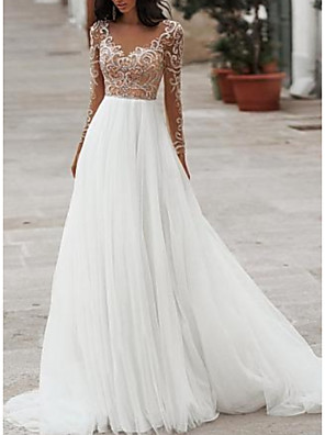 cheap Prom Dresses-A-Line Wedding Dresses V Neck Floor Length Tulle Long Sleeve Cheap Romantic Beach See-Through Illusion Sleeve with Beading Embroidery 2020