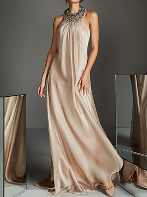 cheap Evening Dresses-Sheath / Column Beautiful Back Pink Party Wear Formal Evening Dress Halter Neck Sleeveless Sweep / Brush Train Chiffon with Beading Sequin Draping 2020