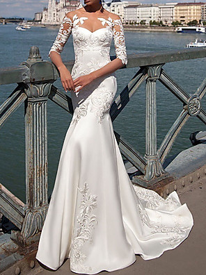 cheap Bridesmaid Dresses-A-Line Wedding Dresses Jewel Neck Sweep / Brush Train Tulle Regular Straps Illusion Sleeve with Beading Appliques 2020