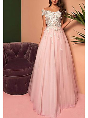 cheap Prom Dresses-A-Line Open Back Prom Dress Off Shoulder Short Sleeve Floor Length Lace Tulle with Pleats Appliques 2020