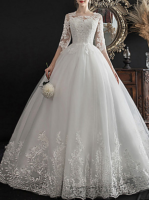 cheap Wedding Dresses-A-Line Wedding Dresses Jewel Neck Sweep / Brush Train Lace Half Sleeve Glamorous See-Through Illusion Sleeve with Lace Insert Appliques 2020