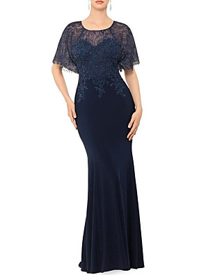 cheap Evening Dresses-Mermaid / Trumpet Elegant Formal Evening Dress Jewel Neck Short Sleeve Floor Length Lace Matte Satin with Beading 2020