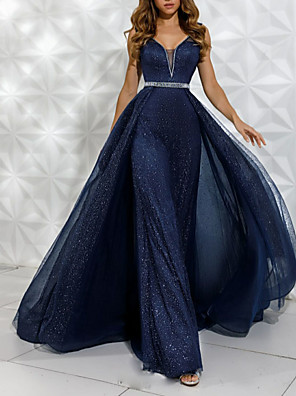 cheap Prom Dresses-A-Line Luxurious Blue Engagement Formal Evening Dress V Neck Sleeveless Floor Length Tulle with Crystals Overskirt 2020