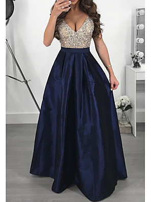 cheap Special Occasion Dresses-Women's A-Line Dress Maxi long Dress - Sleeveless Color Block Glitter Patchwork Deep V Elegant Sexy Cocktail Party Prom Birthday Black Purple Green Navy Blue S M L XL XXL XXXL