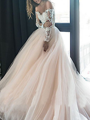 cheap Wedding Dresses-A-Line Wedding Dresses Off Shoulder Sweep / Brush Train Tulle Long Sleeve Illusion Sleeve with Lace Insert 2020