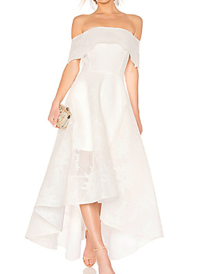 cheap Prom Dresses-A-Line Wedding Dresses Off Shoulder Asymmetrical Ankle Length Organza Short Sleeve with Embroidery 2020