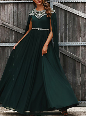 cheap Prom Dresses-A-Line Luxurious Green Prom Formal Evening Dress Jewel Neck Sleeveless Floor Length Chiffon with Pleats Crystals Beading 2020